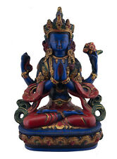 Chenrezig -Tchenrezi statue tibetaine en resine peinte-bleu- 20 cm -Tibet-9650