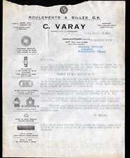 """LEVALLOIS-PERRET (92) ROULEMENTS à BILLES """"C. VARAY Constructeur"""" en 1924"""