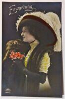Postkarte Dame mit Hut