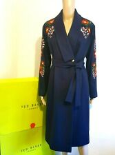 TED BAKER SIRENAA NAVY FLORAL EMBROIDERED COAT UK 14 TED 4 US 10 RRP £399 BNWT