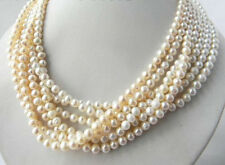 Fashion 7 Strands Natural 6-7mm South Sea Freshwater White Pearl Necklace 18''