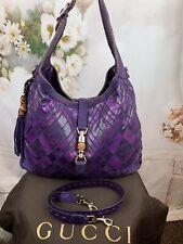 Gucci Large  Jackie Hobo/shoulder Bag Authentic Violet Snakeskin/suede $6800