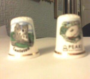 2 x Sampson's Sights of Britain Bone china thimbles