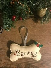 Handmade felt Christmas decorations - bone with your dogs name