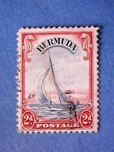 Bermuda. KGVI 1940 2d Ultram & Scarlet. SG112a. Wmk Mult Script CA. P12. Used.