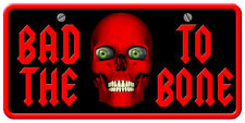 """""""BAD TO THE BONE"""" CREEPY SCARY RED DEMON SKULL 5.5""""X10.75"""" LICENSE PLATE STICKER"""