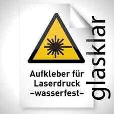 GLAS KLAR wetterfest Laserdrucker Copy Folie Aufkleber A3 Premium Profi Qualität