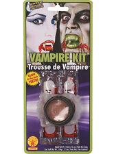 Unisex Fancy Dress Fake Blood Glow In The Dark Vampire Fangs Halloween Kit New