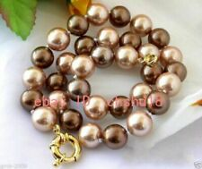 New 8/10/12mm coffee champagne South Sea shell pearl necklace 18 inches