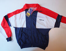 Original 1980s new tags vintage tracksuit running top XL Sub 4 red white blue