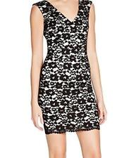 NWT 6 New French Connection Lace Dress Black White Womens Flowers SS Lined Sheat