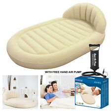 NEW BESTWAY ROYAL ROUND INFLATABLE VINYL AIR BED CAMPING MATTRESS WITH FREE PUMP