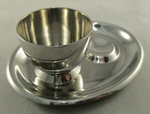 Vintage Old Hall Stainless Steel Egg Cup Moulded Oval Tray