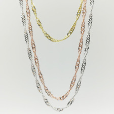 10pcs/lot 925 Silver/18K Gold/Rose Gold Plated Water Wave Necklace Chains Women