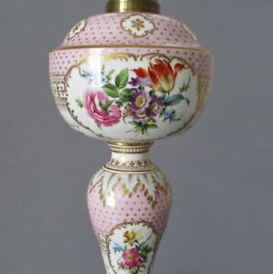 Antique HP SEVRES French PINK Porcelain + Bronze Lamp FLOWERS FIGURES Lush GILT