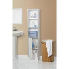 New Bathroom Storage Cabinet Tall Linen Towel Organizer Wood Tower Shelves White