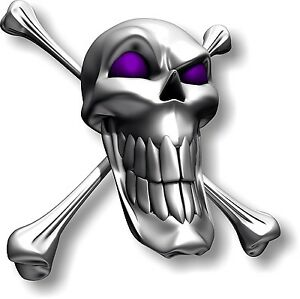 Vinyl sticker/decal Small 90mm long smile skull with purple eyes - facing right