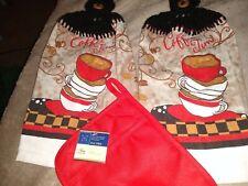 "Crocheted Hanging Kitchen Dish/Hand Towels Matching Pott Mitt ""Coffee Time"""