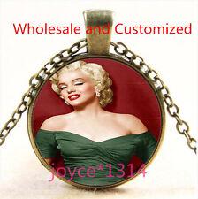 Marilyn Monroe Cabochon bronze Glass Chain Pendant Necklace TS-4884