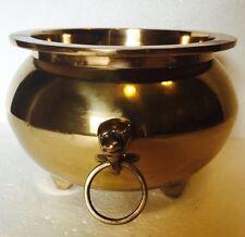 Vintage Heavy Brass Cauldron w/ Door Knocker Handles Wicca Witchcraft Halloween