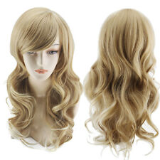 Halloween Blond Fashion Long Wave Curly Wavy Women's Girl Full Hair Wigs Cosplay