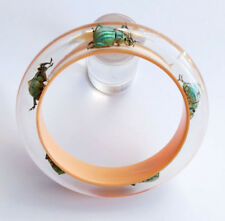Beautiful cream lucite bangle with five exotic real insects Kolos Designs