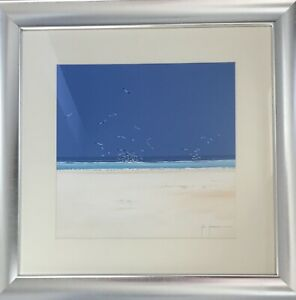 "Original John Horsewell Acrylic On Paper ""Deserted Beach"""