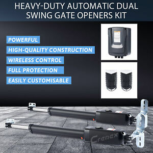 Heavy-Duty Electric Swing Gate Opener Pull Gate w/ Remote Control Kit
