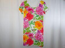 JAMS WORLD Floral Shift Button Front Dress Size 11 Floral Print Pink Orange Gree