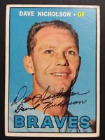 Dave Nicholson Braves Signed 1967 Topps Baseball Card #113 Auto Autograph 1