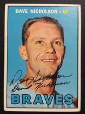 Dave Nicholson Braves Signed 1967 Topps Baseball Card #113 Auto Autograph