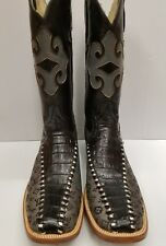 Men's BOOTS ALLIGATOR BELLY / FASHION LOGO SQUARE TOE BOTAS RODEO