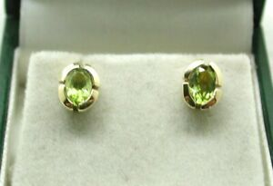 Lovely Pair Of 9 Carat Gold Peridot Stud Earrings