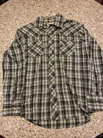 Wrangler Mens Large Green Black White Plaid Western Pearl Snap Long Sleeve Shirt