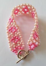 New Handmade Two Tone Pink Glass Pearl Beaded Round Symmetrical Toggle Bracelet