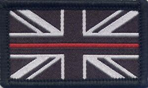 The Thin Red Line Firefighter Fire Service Woven Patch Union Jack Flag 3x5cm
