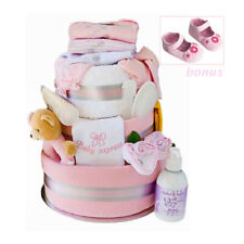 Nappy Cake New Born Girl Deluxe Beautifully for Baby in Pink Gift