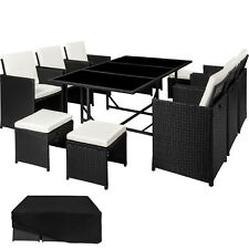 Poly Rattan Garden Furniture Set Dining Wicker Seater Chair Stool Table black