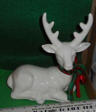 Lqqk 1988 Flambro Ceramic White [ Reindeer ] Used Has Box