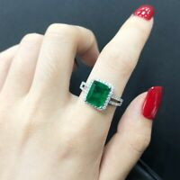 Luxus Damen Cocktail Ring Echt Silber 925 Smaragd Edelstein Frauen Geschenk Neu