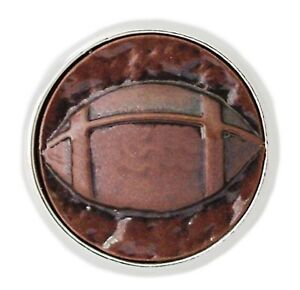 Silver Brown Hammered Copper Sport Football 18mm Snap Charm For Ginger Snaps