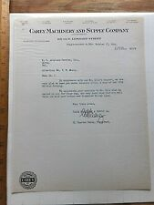1945 Letterhead - Carey Machinery and Supply Company, Baltimore, Maryland