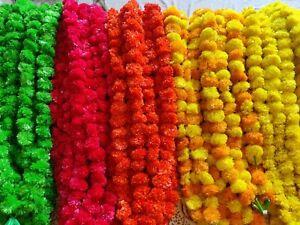 Pack of 10 Indian Artificial Marigold 5 feet Garlands Home Wedding Decoration Ne