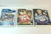Lot of (3) Nintendo Wii Games Minute to Win It  I Spy Disney Guilty Party
