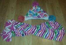 Girl's GapKids fleece pink purple blue orange skull striped beanie & scarf  S/M