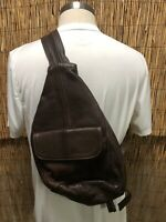 Leather Sling Bag Crossbody Chest Bag One Strap Backpack Brown Made in Mexico