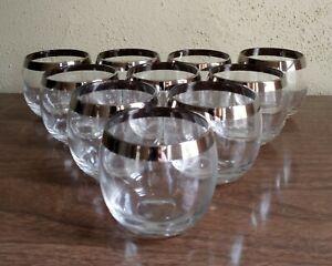Vintage Mad Men Silver Rim Roly Poly Dorothy Thorpe Cocktail Glasses Set of 9