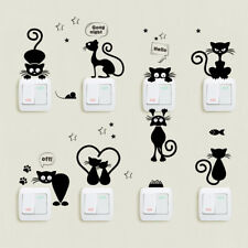 Cat Love Black Cartoon Creative Switch Stickers Wall Sticker Vinyl Decal Home