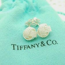 Tiffany & Co. Sterling Silver Somerset Twist Mesh Knot Stud Earrings with Pouch
