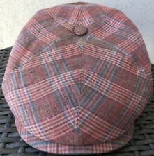 STETSON 100% Linen Cap Pink / Blue Peaky Blinders Newsboy Large 59cm Gatsby Hat
